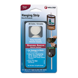 "Velcro - Removable Hook And Loop Poster Hangers, 1 1/4"" X 10 Ft. Tape/20 Coins, White - FASTENER,REMVBLE,10 FT,WH - 91641"