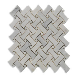 "GlassTileStore - Filigree Asian Statuary Marble Tile - Filigree Asian Statuary Marble Tile          This marble mosaic will provide endless design possibilities from contemporary to classic. It creates a great focal point to suit a variety of settings. The mesh backing not only simplifies installation, it also allows the tiles to be separated which adds to their design flexibility. The natural material will have a color variation. .          Chip Size: 1x2 Circle Diameter: 1/2""   Color: Asian Statuary   Material: Asian Statuary Marble   Finish: Polished    Sold by the Sheet - each sheet measures 10.8x10.8 (0.81 sq. ft.)   Thickness: 10mm            - Glass Tile -"