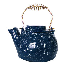 Uniflame - Uniflame C-1923 25 Quart Porcelain Coated Kettle-Blue w/ White Speckles - 25 Quart Porcelain Coated Kettle-Blue w/ White Speckles belongs to Fireplace Accessories Collection by Uniflame