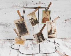 Vintage Wire Frame Lampshade Photo Display By Red Truck Designs - This is such a clever way to use a vintage lampshade frame — though its pretty shape would look just as good covered with fabric.