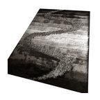 Rug - Black/Grey Living Room Shaggy Area Rug, Black/Gray, 4 X 6 Ft., Geometric, Hand-T - SHAGGY VISCOSE  DESIGN COLLECTION