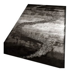Rug - Black/Grey Living Room Shaggy Area Rug, Black/Gray, 4 X 6 Ft., Geometric, Hand-T - SHAGGY VISCOSE  DESIGN COLLECTION