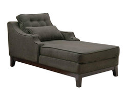 Coaster - Coaster Upholstered Grey Chaise in Black Finish - Coaster - Chaise Lounges - 500028 - Plush and comfortable this upholstered chaise is a lovely furniture addition to your living room for you to stretch out and relax in. Featuring a raised base on tapered wood legs with sloping track arms and thick padded upholstery this piece is functional and fashionable. The rich upholstery is stately and dramatic making a grand statement in your home.