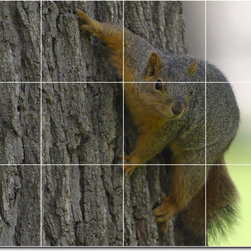 Picture-Tiles, LLC - Tree Animals Photo Wall Tile Mural 3 - * MURAL SIZE: 36x48 inch tile mural using (12) 12x12 ceramic tiles-satin finish.