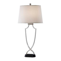Murray Feiss - Polished Nickel and Black Marble Base Lamp - The simple crisscross base of this elegant table lamp creates a fresh design that will make minimalists drool. Polished nickel, a marble base and an airy eggshell shade form a sleek and beautiful modern lamp that adds light, not weight, to your home or office.