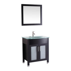 """Vanova - Vanova VA101-30E Espresso Cabinet, Basin & Mirror Brown Vanity - Our stylish floor standing all wood vanity includes frosted glass top with an integrated round sink and frosted glass soft closing doors with matching mirror.  Color: Espresso,Vanity:30""""W x 21.26""""D x 36""""H,Mirror:19""""W x 27""""H,Includes:Cabinet-frosted glass basin & mirror,Hardware:Soft-closing doors,Faucet & drain not included"""