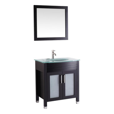 "Vanova - Vanova VA101-30E Espresso Cabinet, Basin & Mirror Brown Vanity - Our stylish floor standing all wood vanity includes frosted glass top with an integrated round sink and frosted glass soft closing doors with matching mirror. Color: Espresso, Vanity: 30""W x 21.26""D x 36""H, Mirror: 19""W x 27""H, Includes: Cabinet-frosted glass basin & mirror, Hardware: Soft-closing doors, Faucet & drain not included"