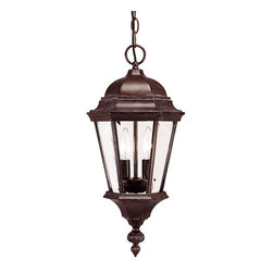 Savoy House - Savoy House Wakefield Outdoor Chain Hung Lighting Fixture in Walnut - Shown in picture: Traditional Exterior - Versatile in Walnut Patina Finish with Clear Beveled Glass
