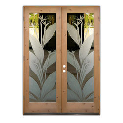 """Glass Doors - Frosted Glass Front Entry Doors - BIRD OF PARADISE 3D - Glass Front Entry Doors that Make a Statement! Your front entry door is your home's initial focal point and glass front doors by Sans Soucie with frosted, etched glass designs create a unique, custom effect while providing privacy AND light thru exquisite, quality designs!  Available any size, all glass front doors are custom made to order and ship worldwide at reasonable prices.  Exterior entry door glass will be tempered, dual pane (an equally efficient single 1/2"""" thick pane is used in our fiberglass doors).  Selling both the glass inserts for front doors as well as entry doors with glass, Sans Soucie art glass doors are available in 8 woods and Plastpro fiberglass in both smooth surface or a grain texture, as a slab door or prehung in the jamb - any size.   From simple frosted glass effects to our more extravagant 3D sculpture carved, painted and stained glass .. and everything in between, Sans Soucie designs are sandblasted different ways creating not only different effects, but different price levels.   The """"same design, done different"""" - with no limit to design, there's something for every decor, any style.  The privacy you need is created without sacrificing sunlight!  Price will vary by design complexity and type of effect:  Specialty Glass and Frosted Glass.  Inside our fun, easy to use online Glass and Entry Door Designer, you'll get instant pricing on everything as YOU customize your door and glass!  When you're all finished designing, you can place your order online!   We're here to answer any questions you have so please call (877) 331-339 to speak to a knowledgeable representative!   Doors ship worldwide at reasonable prices from Palm Desert, California with delivery time ranges between 3-8 weeks depending on door material and glass effect selected.  (Doug Fir or Fiberglass in Frosted Effects allow 3 weeks, Specialty Woods and Glass  [2D, 3D, Leaded] will require approx. 8 weeks)."""