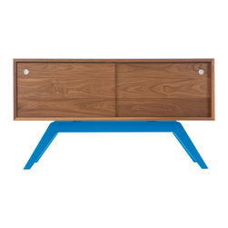 Eastvold Furniture - Elko Credenza Small, Walnut, Blue Base - It might look like a prized midcentury collectible, but this credenza is custom-crafted in Minnesota in your choice of base colors. Reinforced mitered joints allow the walnut grain to wrap the exterior in a continuous sweep, while adjustable shelves and wire chases inside offer flexible storage for the den, dining room or office.