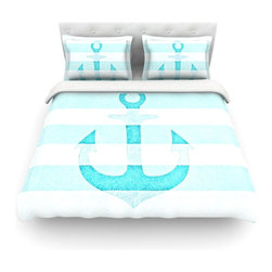 """Kess InHouse - Monika Strigel """"Stone Vintage Aqua Anchor"""" Cotton Duvet Cover (Twin, 68"""" x 88"""") - Rest in comfort among this artistically inclined cotton blend duvet cover. This duvet cover is as light as a feather! You will be sure to be the envy of all of your guests with this aesthetically pleasing duvet. We highly recommend washing this as many times as you like as this material will not fade or lose comfort. Cotton blended, this duvet cover is not only beautiful and artistic but can be used year round with a duvet insert! Add our cotton shams to make your bed complete and looking stylish and artistic! Pillowcases not included."""