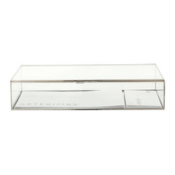 Jedd Large Glass Document Box - Whether used to display fragile natural treasures, to protect cherished family ephemera or children's artwork, or as a vintage-inspired alternative to boring in-out trays in the office, the Jedd Glass Document Box encloses the contents in a simple elite style. Framed in polished nickel, the box has clear walls to allow the contents to be easily viewed from above while well-lit from the sides.