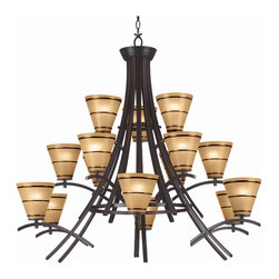Kenroy - Kenroy 90088ORB Wright 15 Light Chandelier - Taking its cue from the famed architect, the Wright collection pays homage to the Craftsman style with its simple, yet beautiful materials.  An Oil Rubbed Bronze finish is paired with Amber glass to complete this architectural classic.