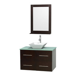 "Wyndham Collection - Centra Bathroom Vanity in Espresso,GN Glass Top,Pyra White Sink,24"" Mir - Simplicity and elegance combine in the perfect lines of the Centra vanity by the Wyndham Collection. If cutting-edge contemporary design is your style then the Centra vanity is for you - modern, chic and built to last a lifetime. Available with green glass, pure white man-made stone, ivory marble or white carrera marble counters, with stunning vessel or undermount sink(s) and matching mirror(s). Featuring soft close door hinges, drawer glides, and meticulously finished with brushed chrome hardware. The attention to detail on this beautiful vanity is second to none."
