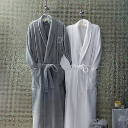 Frontgate - Plush Men's Robe - Choose from Blush, White, Fog, or Driftwood. Constructed of 50% Turkish cotton and 50% polyester. Arrives in a beautiful gift box. Generously sized. Features shawl collar, belted waist, and front pockets. Sumptuously soft on the outside and cozy on the inside, our Plush Robe envelops you in luxurious, lightweight warmth. The cozy polyester exterior is ideal for lounging around the house, while the all-cotton terry lining also makes it suitable for after a shower. It's like a little slice of heaven.  . .  .  . . Woven to 325 GSM . Single letter monogram available . Choose from 10 monogramming styles . Machine wash . Gift box is included. Imported . Please note: Personalized items are nonreturnable.