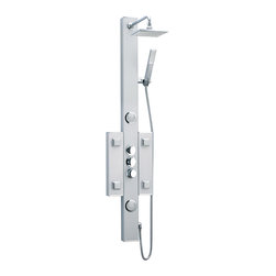 BathAuthority LLC dba Dreamline - Hydrotherapy Shower Column - With features like a hand held shower, adjustable body massage sprays, large rain shower head and individual water controls, DreamLine shower panels turn your ordinary shower into a home spa. Add other elements of design like shelves, mirrors and accessory compartments, and your shower not only gets a beauty facelift but also becomes more functional. Installation is easy with only hot and cold water connections and fast mounting on wall-attached brackets. Choose from models made of aluminum, acrylic or stone for the right solution for your bathroom.