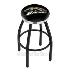 "Holland Bar Stool - Holland Bar Stool L8B2C - Black Wrinkle Western Michigan Swivel Bar Stool - L8B2C - Black Wrinkle Western Michigan Swivel Bar Stool w/ Chrome Accent Ring belongs to College Collection by Holland Bar Stool Made for the ultimate sports fan, impress your buddies with this knockout from Holland Bar Stool. This contemporary L8B2C logo stool has a single-ring black wrinkle base with a 2.5"" cushion and a chrome accent ring that helps the seat to ""pop-out"" at glance. Holland Bar Stool uses a detailed screen print process that applies specially formulated epoxy-vinyl ink in numerous stages to produce a sharp, crisp, clear image of your desired logo. You can't find a higher quality logo stool on the market. The plating grade steel used to build the frame is commercial quality, so it will withstand the abuse of the rowdiest of friends for years to come. The structure is powder-coated to ensure a rich, sleek, long lasting finish. Construction of this framework is built tough, utilizing solid mig welds. If you're going to finish your bar or game room, do it right- with a Holland Bar Stool. Barstool (1)"