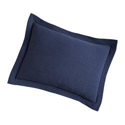 Peacock Alley - Bradley Sham, Navy, Boudoir - Can you say matelassè? It's the stitching technique that lends this pillow sham its thick, quilted, incredibly comfy texture. Here, in a warm and easy earth tone and 100 percent Egyptian cotton, it brings relaxed sophistication to your bedroom.