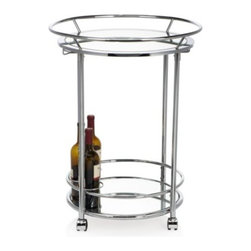 Z Gallerie - Manhattan Bar Cart - Entertain guests with our modestly sized Manhattan Bar Cart, and embrace a portable fixture to arrange your libations on.  Featuring a mirrored tray top and bottom set upon casters, our Manhattan Bar cart has been finished in chrome, providing a lustrous sheen.  The lower tray offers three bottles to be securely placed as you wheel your libations to the chosen destination.