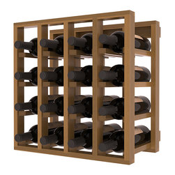 Lattice Stacking Wine Cubicle in Redwood with Oak Stain + Satin Finish - Designed to stack one on top of the other for space-saving wine storage our stacking cubes are ideal for an expanding collection. Use as a stand alone rack in your kitchen or living space or pair with the 20 Bottle X-Cube Wine Rack and/or the Stemware Rack Cube for flexible storage.