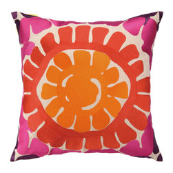 """Trina Turk - Trina Turk La Jolla Pink Pillow - A chunky sunburst pattern enlivens Trina Turk's square La Jolla throw pillow. Its bright geometric pattern lends texture and color to modern interiors. 20""""W x 20""""H; 100% linen; Embroidered in orange, coral, hot pink and plum; Includes 95/5 feather down insert; Hidden zipper closure; Dry clean only"""