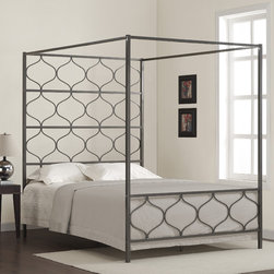 None - Marnie Queen Canopy Bed - This one of a kind metal canopy bed is both elegant and whimsical at the same time. Its sturdy metal construction and metallic bronze powder coat finish are sure to please.
