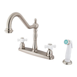"Kingston Brass - 8"" Center Kitchen Faucet with Non-Metallic Sprayer - VIctorian style Two Handle Deck Mount, Widespread 4 hole Sink application, Non-Metallic (ABS) Side Spray, Fabricated from solid brass material for durability and reliability, Premium color finish resist tarnishing and corrosion, 360 degree turn swivel spout, 1/4 turn On/Off water control mechanism, 1/2"" - 14 NPS male threaded inlets, Duraseal washerless valve, 2.2 GPM (8.3 LPM) Max at 60 PSI, Integrated removable aerator, 9-1/2"" spout reach from faucet body, 11"" overall height, Ten Year Limited Warranty to the original consumer to be free from defects in material and finish.; Plastic Sprayer Included; Brushed Nickel Finish; 1/4 Turn Washerless Cartridge; Porcelain Cross Handle; 4 Holes Installation with an 8-1/2"" spout reach; Material: Brass; Finish: Satin Nickel Finish; Collection: Heritage"