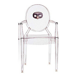 Kartell - Louis Ghost Character Chair - Louis Ghost Character Chair is available in a Transparent finish with an image of a Bear, Mask, Chinese Checker or Child. Despite its evanescent and crystalline appearance, Louis Ghost is stable and durable, shock and weather resistant and can also be stacked six high. This article has great charm and considerable visual appeal and brings a touch of elegance and irony to any style of home or public area. Louis Ghost chairs can be personalized in four standard themes and with other items upon the customer's specific request with minimum orders of ten pieces. Please inquire for fire resistant options. Only one chair is included. 21.4 inch width x 37.2 inch height.