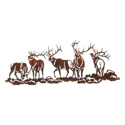 "Lazart - Boys Night Out Elk Wildlife Metal Over Door Hanger - Boy's Night Out Elk Wildlife Metal Over Door Hanger. When bull elk get together, there's a lot going on, as seen in this rustic metal art study of the elk. Five different elk in varying positions, each portraying a different level of energy and vitality. A vibrant Honey Pinion finish adds warmth and a golden glow that shines in the light. Each elk has been carefully laser cut for excellent detailing of body form and antlers, making this a quite realistic rustic wildlife study in metal art. The entire piece measures 30""W and is intended for hanging over the doorway."