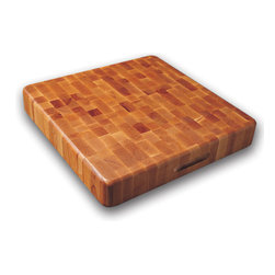 None - Slab End Grain Cutting Board w/ Finger Grooves - Whether you're a professional chef or a home cook,this reversible wood cutting board will make a handy addition to your kitchen. Made of end-grain domestic hardwood,this cutting board is durable,spacious and designed not to dull your knives.