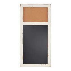 "Enchante Accessories Inc - Distressed Wood Cork Bulletin Board & Chalk Board  16""x 32""(Ivory) - This message board features a Distressed Wooden Framed Cork Board / chalkboard combination."