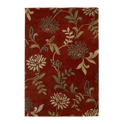 Kas - Floral Red Florence Floral 8' x 10' Kas Rug  by RugLots - Our Florence collection will immediately catch your attention with the texture and warmth apparent in each design. Hand-tufted Wool and viscose are blended together to create a rich feel, while the added loop construction adds interest and dimension. Each beautiful design is both modern and relaxed in its nature, reminding ourselves to take the time to truly enjoy the environment we live in.