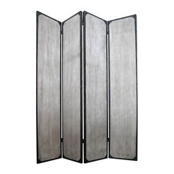 Screen Gems - Industrial 4-Panel Privacy Screen Divider - This is a 4 panel industrial style screen. The rustic, distressed finish features metal accents. A unique look that's sure to bump your style up a notch. 63 in. W x 83 in. H (115 lbs.)