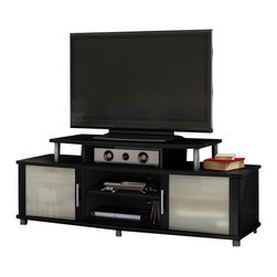 "South Shore - South Shore City Life 59"" TV Stand in Pure Black - South Shore - TV Stands - 4270601 - The South Shore City Life TV Stand can accommodate LCD and plasma televisions up to 50"""". Curved shapes metal accents frosted glasses ample storage and an original contrast finish all adds up to a popular and unique TV stand. It combines form and function to perfection. Your living room has never been so organized! It features legs and metal handles in a brushed silver finish. This unit is able to support a television of up to 185 pounds on a shelf that measure 39.5"""" wide by 19.5"""" deep.Features:"