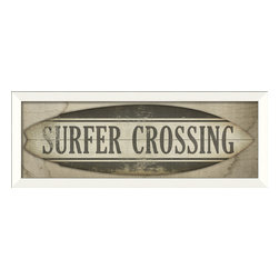 The Artwork Factory - 'Surfer Crossing Surfboard Sign' Print - Flaunt your affection for your favorite sport and bring good vibrations to your decor. This museum quality print on high resolution, acid-free paper makes a laid-back style statement (dude implied!).