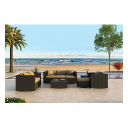 Harmonia Living - Urbana 5 Piece Outdoor Sofa Set, Weathered Stone Wicker, Beige Cushions - The Harmonia Living Urbana 5 Piece Wicker Outdoor Sofa Set with Tan Sunbrella cushions (SKU HL-URBNWS-5SS-HB) is a practical choice for those who love to entertain outdoors. Few modern outdoor sofa sets offer this level of quality and design at such an affordable price. The brushed aluminum feet and bold clean lines give this set a modern look. The resin wicker has a rich textured look that rivals natural rattan wicker while being significantly more durable. Its durable, reinforced aluminum frames and fade-resistant High-Density Polyethylene (HDPE) wicker keep this outdoor sofa set looking great for years and years. Enjoy your patio or backyard with this contemporary outdoor sofa set.