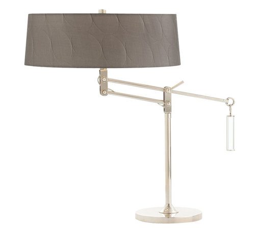 Arteriors - Jacqueline Adjustable Desk Lamp - Double socket adjustable swing arm desk lamp with metal base and body in a nickel finish. Topped with a gray gunmetal colored drum shade detailed with circular pattern embossing and pewter lining. Max Wattage (per socket): 60. 2-prong cord. UL Listed, bulb not included, wired for 110-120v.
