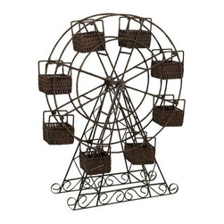 Rattan and Metal Ferris Wheel with Planter Baskets - This rattan Ferris wheel takes a spunky spin on planters, each seat is a little cubby for plants or any type of surprise.