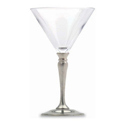 Match - Match Martini Glass-set of two - Handmade in Italy, Match stemware lends elegance to any setting. You will love the substantial weight of this perfectly formed glass, designed deep enough to preserve your cocktail. Measures 8h. Match stemware and barware must always be washed by hand. Please do not soak these items in hot water or place them in the dishwasher. This will compromise the bond between the crystal and the pewter, and possibly lead to separation.