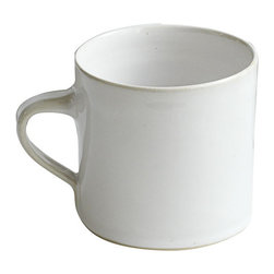 Wonki Ware Ceramics Large White Mugs, Set of 4 - While I'm crazy for patterns, sometimes you just want a simple mug to enjoy a cup of tea or coffee. Wisteria's Wonki Ware Ceramics white mugs come in a set of four and are crafted by South African artisans.