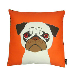 Pug! 18X18 Pillow - 100% polyester cover and fill.  Backed with plush faux fur material.  Made in USA.  Spot clean only