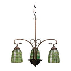 "Meyda Tiffany - Meyda 20.5""W Terra Verde 3 Lt Chandelier - Honeydew-green glass cascades in a geometric grid on elongated tiffany style hand crafted shades which are suspended from gracefully curved arms in this elegant 3 light chandelier."