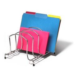 "Spectrum Diversified Design - Wire Organizer- Medium - Add extra cabinet space with the Medium Wire Organizer. The sturdy rack organizes your lids plates cutting boards and baking sheets with ease. This rack is also great for organizing your office files or personal papers. Made of sturdy steel pads on the feet offer grip support to protect surfaces from scratches. Four generously sized sections store your bake ware or files. Each section provides 2-1/4-inch of space. This organizer also features vinyl feet to protect surfaces. Helps you organize lids plates and baking sheets with easeGreat for storing office filesRubber feet protect surfaces from scratchesSturdy design prevents the unit from tipping or wobblingSturdy steel constructionDimensions: 9""W x 10-1/4""D x 7-1/4""H"