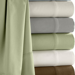 Luxor Linens - Camelot Bamboo Sham Set, Queen, Silver Sage - 60% Bamboo and 40% organic cotton yarns woven together to create this 300 thread count fabric that has a soft, smooth feel. Bamboo is grown in a pesticide free environment and its natural antibacterial characteristics make it ideal for everyday use. The superior absorption and extra softness ensure your ultimate sleeping experience. Imported.