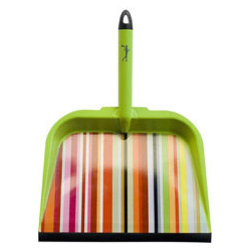 Metal Dustpan, Striped - This would add a little zing when I'm brushing up spilled flour, sugar, salt, cat food, Cheerios, Goldfish — there are a lot of spills in my house.