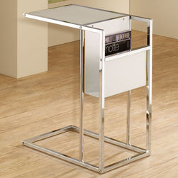 Coaster - 901013 Snack Table - Sleek white and chrome snack table with built-in side magazine rack.