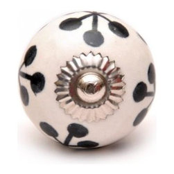 "Knobco - Ceramic Knob, Black with White - Black design on a white  ceramic cabinet knob,   perfect for  your  kitchen   and bathroom  cabinets! The   knob is 1.7"" in  diameter and includes  screws  for installation."
