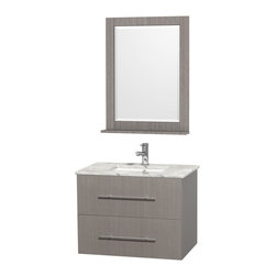 Wyndham Collection - Wyndham Collection Centra 30-inch Single Bathroom Vanity in Grey Oak,with Mirror - 30-inch single vanity is available with Carrera marble countertop or no countertop and no sink with single-hole faucet mount and undermount square sink (faucet mount and sink options apply to products with counters only) and 24-inch mirror.