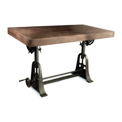 Kathy Kuo Home - Kossi Industrial Rustic Wood Cast Iron Drafting Table Desk - Intriguing, industrial elements combine to create this amazing mechanical masterpiece. Use it flat as a desk or angle the top for a drafting table. Adjust the base for a customized-height surface for cooking, crafting or woodworking projects. The possibilities are endless and beautiful.