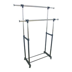 ORE International - Double Levers Standing Clothes Rack - This simple double lever clothes rack keep extra clothes off the floor. The end handles and mid area are adjustable to provide more space in room. Includes wheels to help move easily from room to room. Made with metal and plastic for durability. Provide easy simple instructions for assembly.. Dimensions: 55 in. L x 17.25 in. W x 62.75 in. H ( 17.25 lbs. )